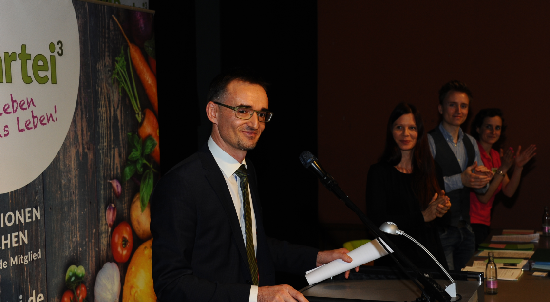Parteigründer Roland Wegner nach seiner Rede