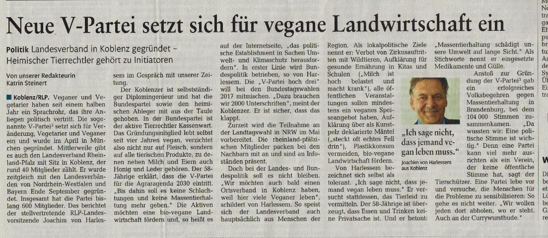 V-Partei setzt sich für vegane Landwirtschaft ein