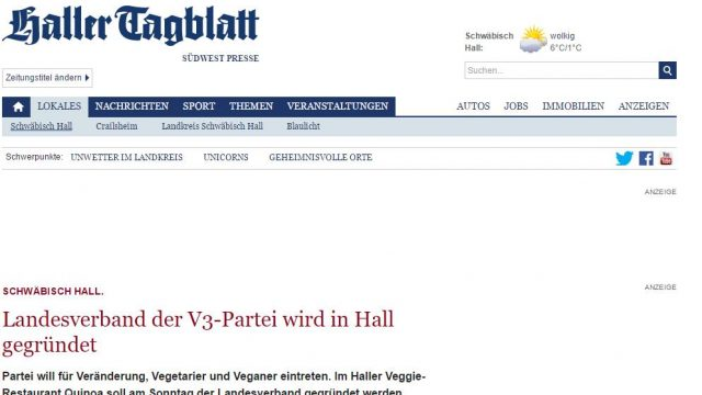 Landesverband der V3-Partei wird in Hall gegründet