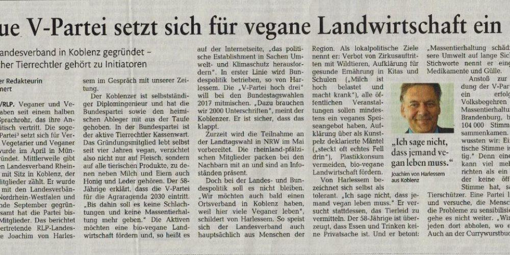 V-Partei³ – setzt sich für vegane Landwirtschaft ein