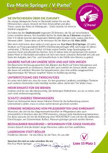 Wahl Höchstädt V-Partei Ökologisch Verantwortung Evi Springer Tierrechte